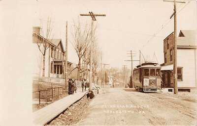 NOBLESTOWN, ALLEGHENY COUNTY, PA, TROLLEY ON FLINN ROAD, REAL PHOTO PC 1907-20
