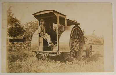 "Mogul 10 to 20 HP Tractor Steam Traction Engine RPPC Powering Thresher ""0267"""