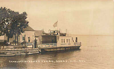 Charlotte-Essex Ferry at Essex NY Eastern Illustrating Real Photo Postcard