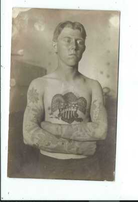 Real Photo Postcard Post Card Ben Nolland Tattooing Tattoos Man Union