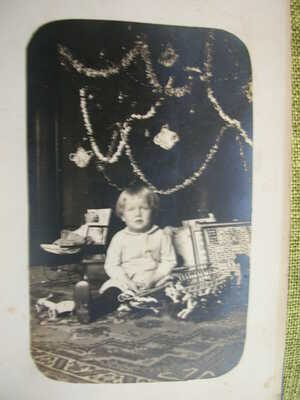 12 Antique Postcards/Photos of Christmas trees, toys, dolls and children-Group1