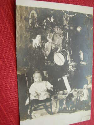 12 Antique Postcards/Photos of Christmas trees, toys, dolls or children-Group 2