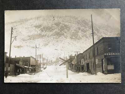 RPPC-Northport WA-Snowy Street Scene-Stores-Washington-Stevens County-Real Photo