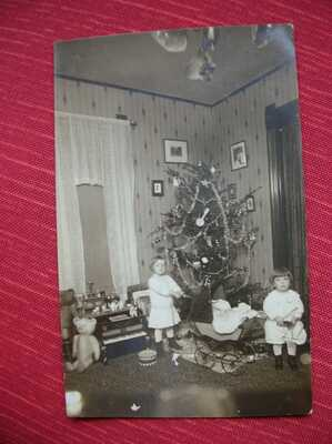 10 Antique Postcards/Photos of Christmas trees, toys, dolls, children--Group 6