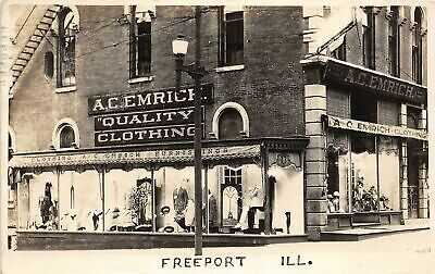 H46/ Freeport Illinois RPPC Postcard 1925 A.C. Emrich Clothing Store