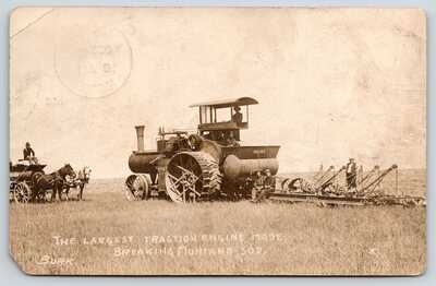 Glendive MT~Reeves Steam Tractor Engine~Farmers~Chas Burmeister~1909 RPPC