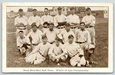 South Bend Indiana~1910 Championship Baseball Team~Joe's Place Bruckschlegl~Adv