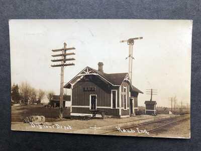 RPPC-Raub IN-Big 4 Railroad Station-Train Depot-Benton County-Indiana-Real Photo