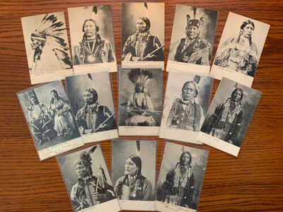 Antique Native American / Indian Art Print Postcards (12) RPPC