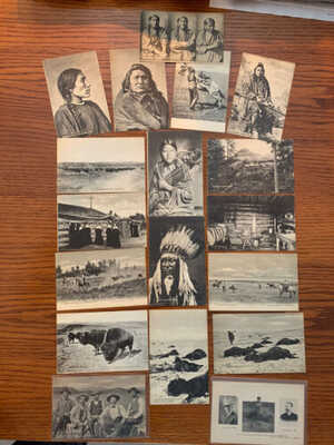 18 L. A. Huffman Antique Postcards, Native Americans, Wild west