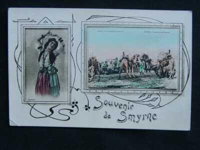 SOUVENIR DE SMYRNE CAMPEMENT DES CHAMEAUX & ORIENTALE IZMIR TURKEY POSTCARD