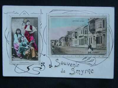 SOUVENIR DE SMYRNE LE QUAI & COSTUMES ORIENTAUX  IZMIR TURKEY POSTCARD