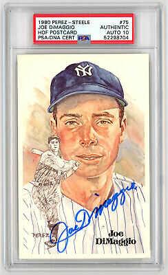 1980 Perez Steele Autographed PSA/DNA 10 Joe DiMaggio #75 Signed HOF Postcard