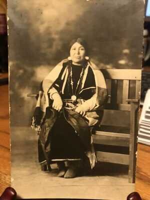Antique Native American / Indian Real Photo Postcard / RPPC Mrs. Red Elk