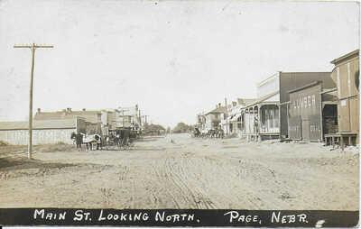 RPPC Main Street Looking North in Page Nebraska c1911 – Buildings & Buggies