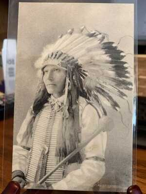 Antique Native American / Indian Real Photo Postcard / RPPC Good Voice Eagle