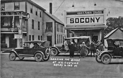 Derby Line VT Searching For Booze Socony Gas Station 1925 Real Photo Postcard
