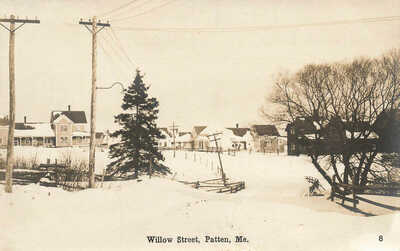 Patten ME Willow Street Snow 1917 Real Photo Postcard