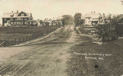 Patten ME Parsonage Street Looking West 1911 Real Photo Postcard