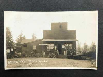 RPPC-Matlock WA-Store-Post Office-Mason County Washington-Real Photo-Bicycle-RP