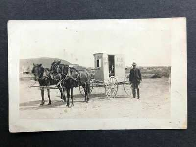 RPPC-Granger WA-RFD Mail Wagon-Horse Drawn-Yakima County Washington-Real Photo
