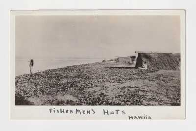HAWAII FISHERMEN'S HUTS REAL PHOTO AZO BACK CIRCA 1910 (PRE PAVED PARADISE)