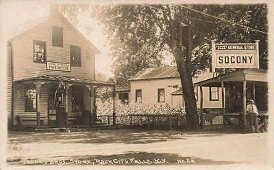 Rock City Falls NY Post Office Socony Gas Station General Store RPPC