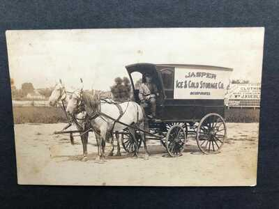RPPC-Jasper IN-Horse Drawn Delivery Wagon-Ice-Real Photo-Dubois Co-Indiana-Ind