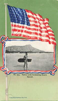 "Honolulu HI ""Native With Swimming Board"" U.S. Flag Diamond Head Postcard"