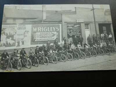 RPPC photo post card Blue Island, Il - Bicycles, Ringling, Wrigley's, garage 191