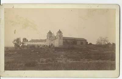 SANTA BARBARA MISSION Original 1880's Isaac Cook Photo California