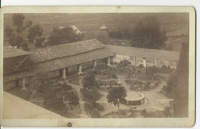 SANTA BARBARA MISSION GARDEN Original 1880's Isaac Cook Photo California