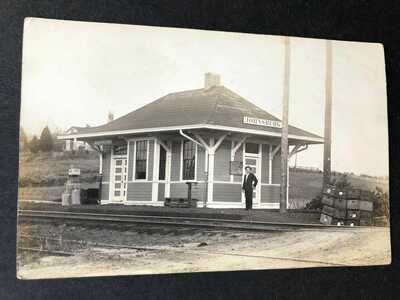 RPPC-Johnsburg IN-Railroad Station-Train Depot-Real Photo-Dubois County-Indiana