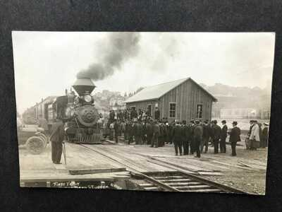 RPPC-North Bend OR-First Railroad Train-Eugene-Glazier-Real Photo-Oregon-Coos Co