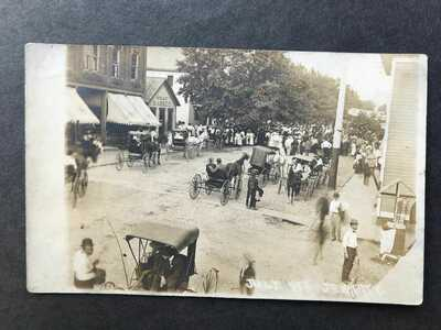 * RPPC-Jewett OH-July 4th-Street-Stores-Busy Day-Ohio-Harrison County-Real Photo