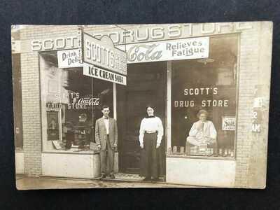 RPPC-Bethel OH-Scott's Drug Store-Coca Cola Signs-Ice Cream-Clermont County Ohio
