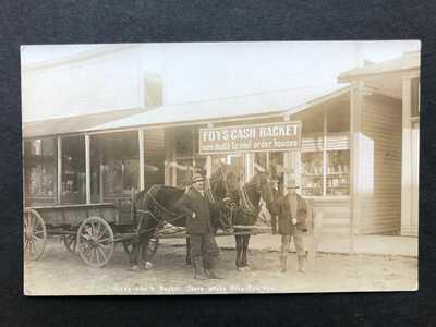 RPPC-White City KS-Foy's Cash Racket-Store-Dray-Kansas-Morris County-Real Photo