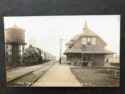 RPPC-White Lake NY-Railroad Station-Train-Depot-Sullivan County-New York-Beach