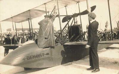 St Petersburg FL Tony Jannus Pilot Benoist Airplane Postcard