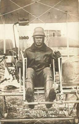 Texas City TX 1913 Leut. Kirtland Flying Costume Airplane Pilot Postcard