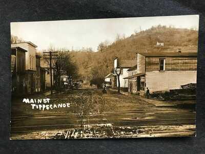 * RPPC-Tippecanoe OH-Main Street-Stores-Railroad-Ohio-Real Photo-Harrison County