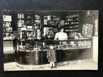 RPPC-Toledo OH-Cigar Boxes-Sales Stand-Jefferson Hotel-Postcard Rack-Real Photo