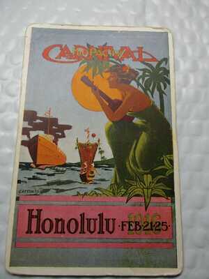 Vintage Postcard: 1916 HONOLULU CARNIVAL MID PACIFIC COLORFUL SEA SCENE UNUSED