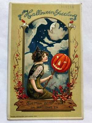 Antique Vintage Halloween Postcard From The Early 1900's.