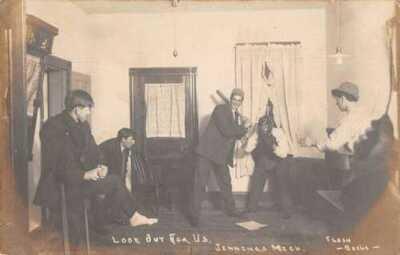 Jennings Michigan Playing Baseball inside House Real Photo Postcard AA40624