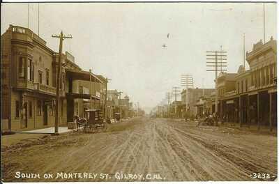 GILROY, CAL. ~ South on Monterey Street ~ RPPC ~ SANTA CLARA COUNTY, CA ~ Buggys