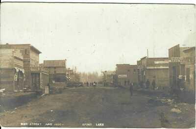 Main Street Apr. 1908 ~ SPIRIT LAKE, ID ~ RPPC ~ KOOTENAI COUNTY, IDAHO ~ Signs