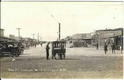 Oak St. Looking N. ~ COLUMBUS, N.M. ~ RPPC ~ Vending Wagon ~ Autos ~ LUNA COUNTY