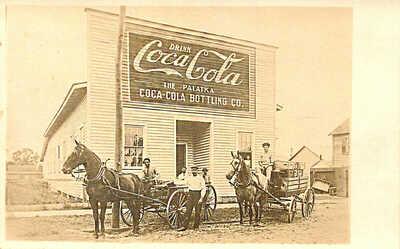RARE Palatka FL The Palatka Coca-Cola Bottling Co. Horse & Wagon Delivery RPPC
