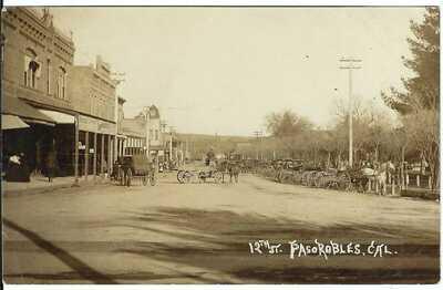 12th St., PASO ROBLES, CAL. ~ RPPC ~ Horses & Wagons ~ SAN LUIS OBISPO COUNTY